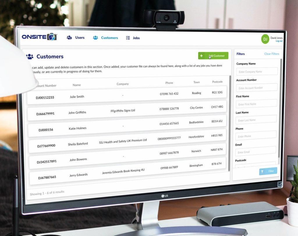 Onsite7 Create Customers from Desktop