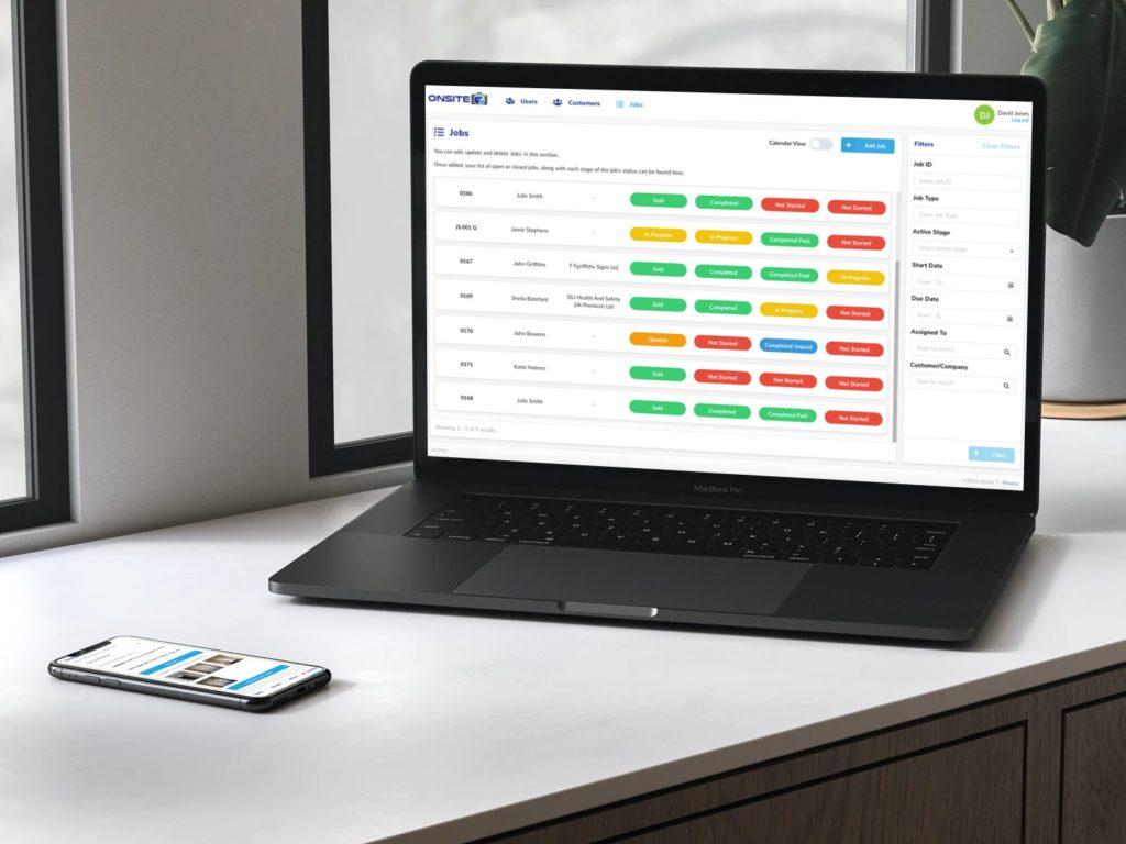 Onsite7 Desktop and Mobile Jobs Screens - Medium Res