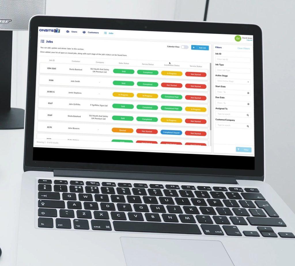 Onsite7 Laptop Jobs Screen